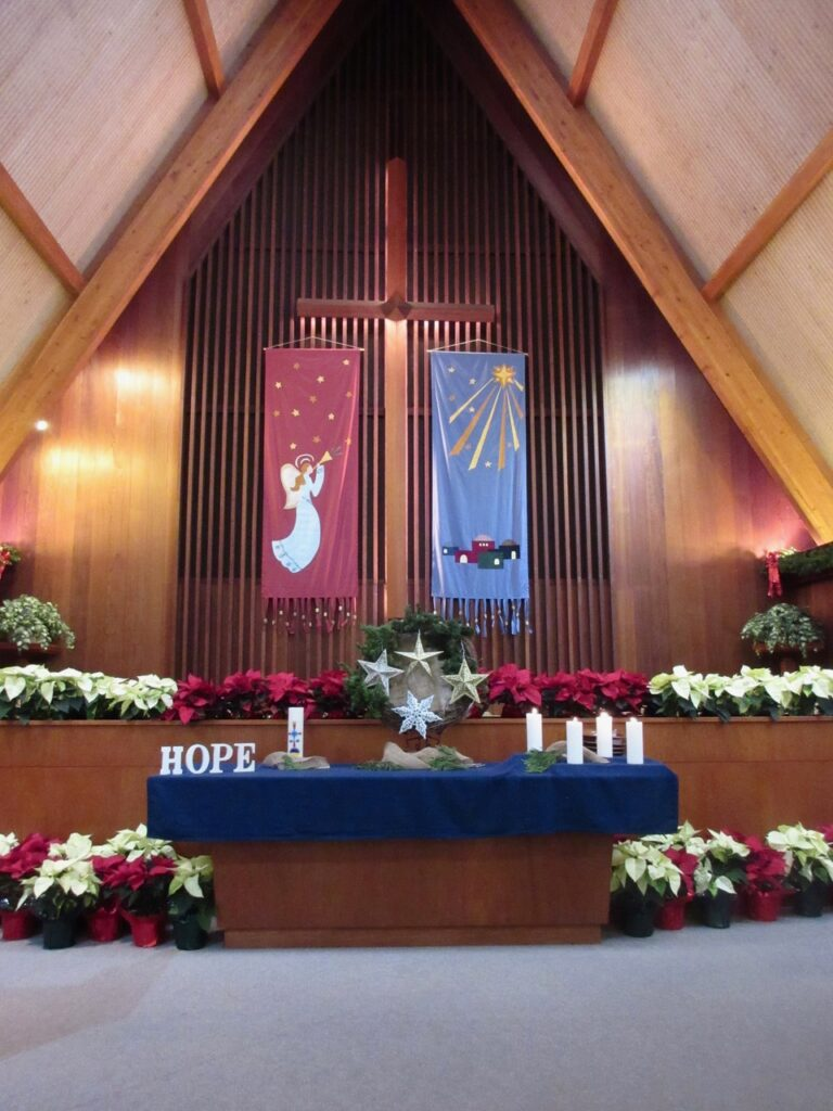 alter decorated for Christmas